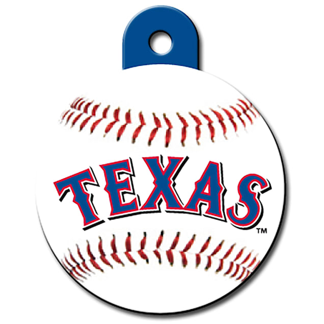 """Quick-Tag Texas Rangers MLB Personalized Engraved Pet ID Tag, 1 1/4"""" W X 1 1/2"""" H - Carousel image #1"""