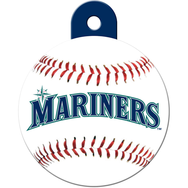"Quick-Tag Seattle Mariners MLB Personalized Engraved Pet ID Tag, 1 1/4"" W X 1 1/2"" H - Carousel image #1"