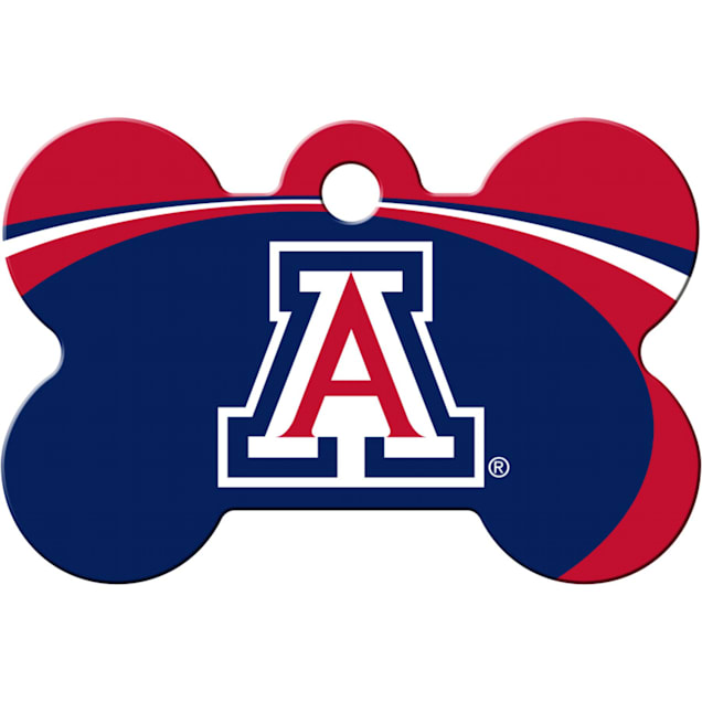 """Quick-Tag Arizona Wildcats NCAA Bone Personalized Engraved Pet ID Tag, 1 1/2"""" W X 1"""" H - Carousel image #1"""