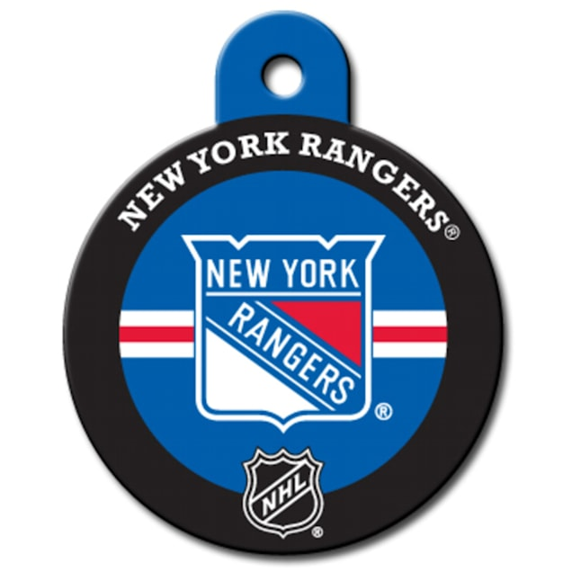 """Quick-Tag New York Rangers NHL Personalized Engraved Pet ID Tag, 1 1/4"""" W X 1 1/2"""" H - Carousel image #1"""