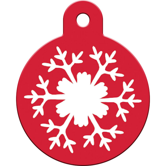"""Quick-Tag Large Snowflake Circle Personalized Engraved Pet ID Tag, 1 1/4"""" W X 1 1/2"""" H - Carousel image #1"""