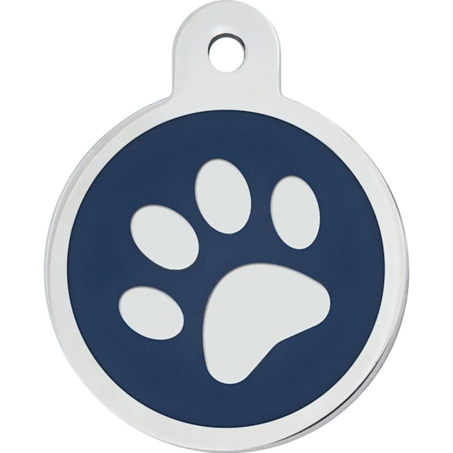 """Quick-Tag Large Blue Paw Circle Personalized Engraved Pet ID Tag, 1 1/4"""" W X 1 1/2"""" H - Carousel image #1"""