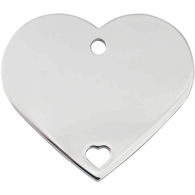 """Quick-Tag Large Pierced Chrome Heart Personalized Engraved Pet ID Tag, 1 1/2"""" W X 1 1/4"""" H - Carousel image #1"""