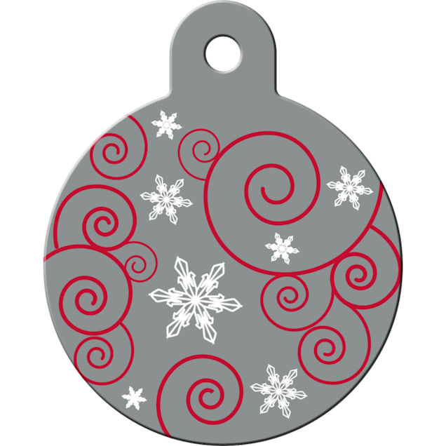 """Quick-Tag Large Silver Ornament Personalized Engraved Pet ID Tag, 1 1/4"""" W X 1 1/2"""" H - Carousel image #1"""