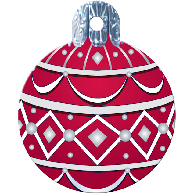 """Quick-Tag Large Red Ornament Personalized Engraved Pet ID Tag, 1 1/4"""" W X 1 1/2"""" H - Carousel image #1"""