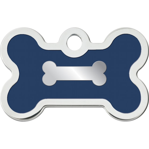 """Quick-Tag Small Blue Epoxy Chrome Bone Personalized Engraved Pet ID Tag, 1 3/8"""" W X 3/4"""" H - Carousel image #1"""