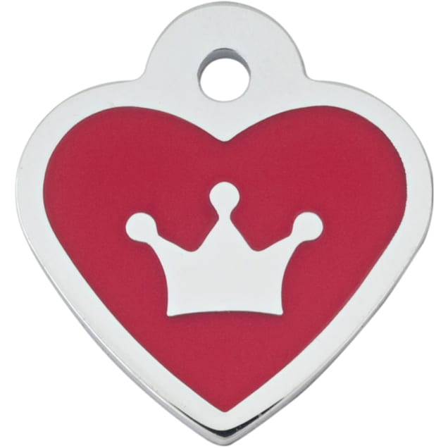 "Quick-Tag Small Epoxy Red Heart Personalized Engraved Pet ID Tag, 1"" W X 1 1/8"" H - Carousel image #1"