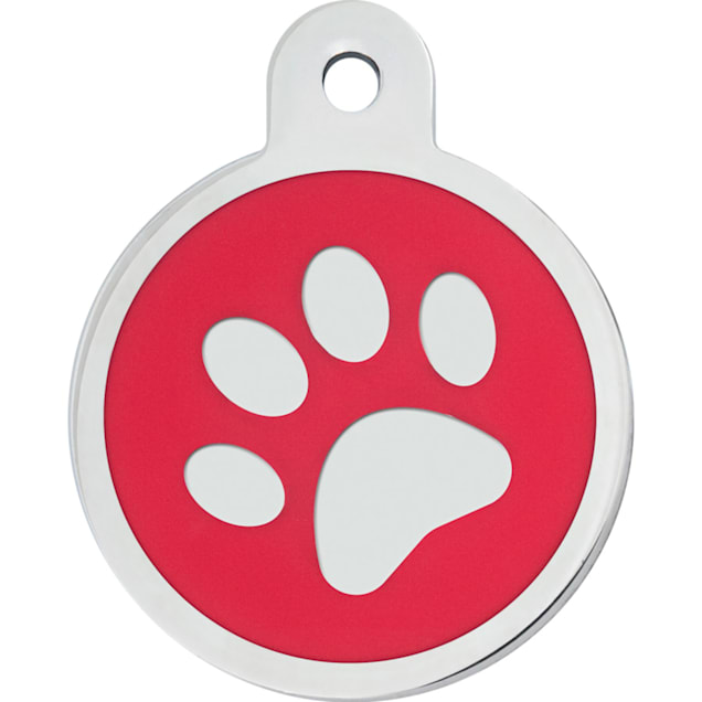 "Quick-Tag Large Red Paw Circle Personalized Engraved Pet ID Tag, 1 1/4"" W X 1 1/2"" H - Carousel image #1"
