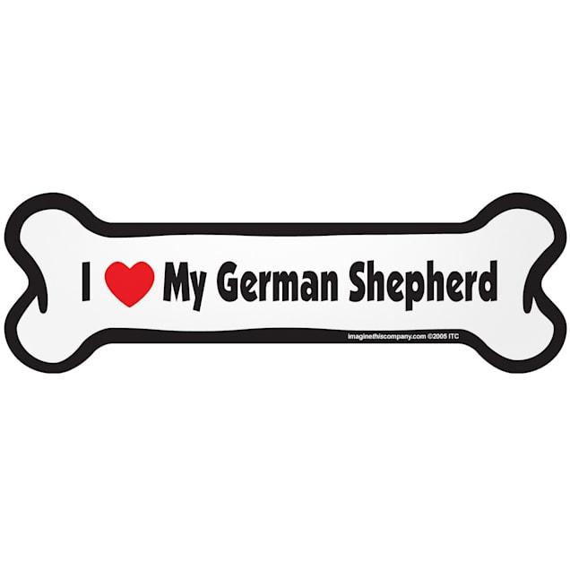 "Imagine This ""I Love My German Shepherd"" Bone Car Magnet - Carousel image #1"