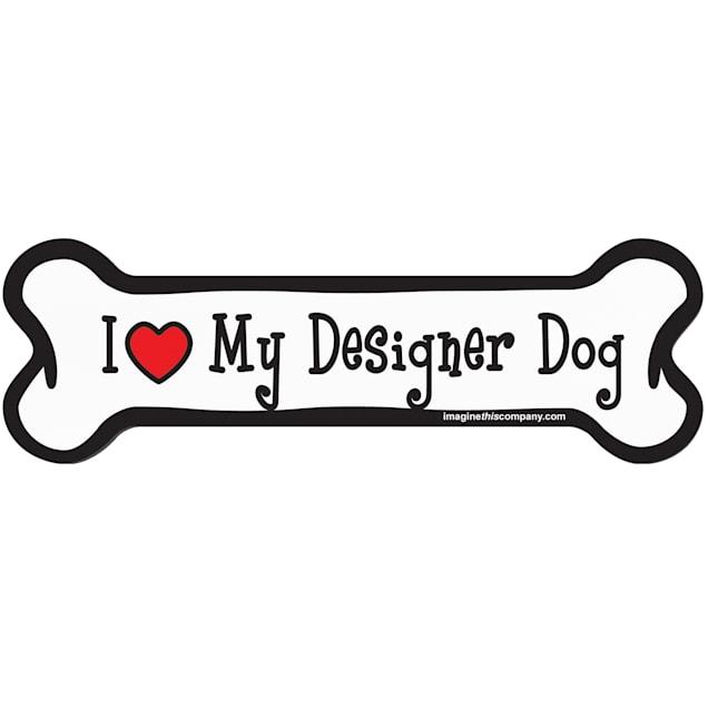 "Imagine This ""I Love My Designer Dog"" Bone Car Magnet - Carousel image #1"