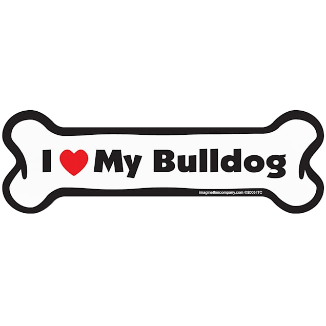 "Imagine This ""I Love My Bulldog"" Bone Car Magnet - Carousel image #1"