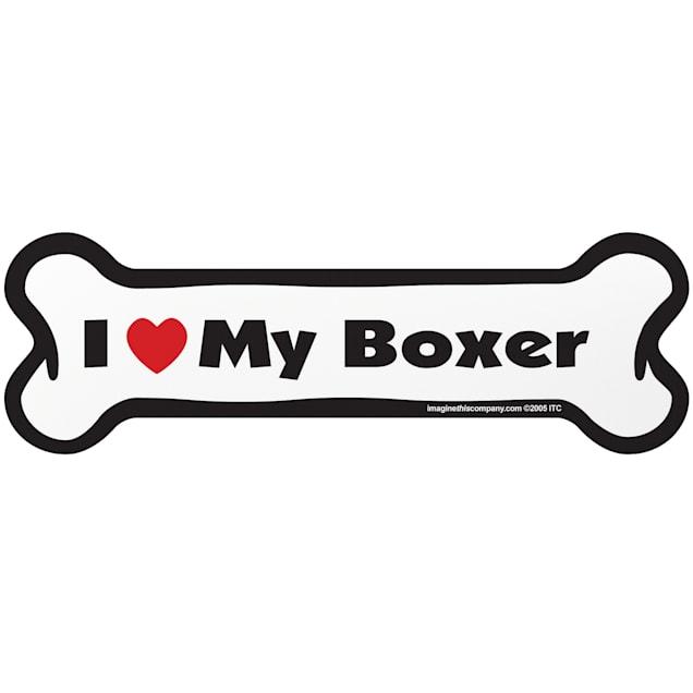 "Imagine This ""I Love My Boxer"" Bone Car Magnet - Carousel image #1"