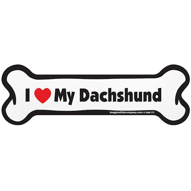 """Imagine This """"I Love My Dachshund"""" Bone Car Magnet - Carousel image #1"""