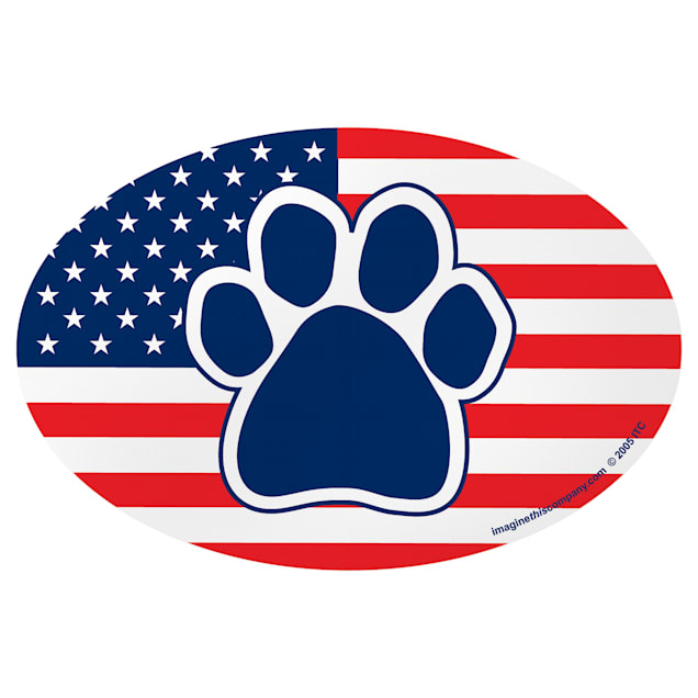 Imagine This American Flag Paw Oval Car Magnet - Carousel image #1