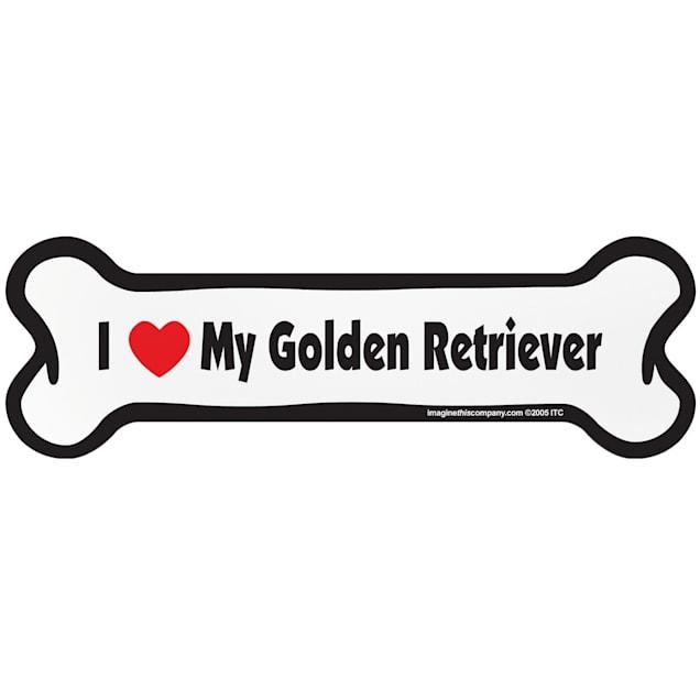 "Imagine This ""I Love My Golden Retriever"" Bone Car Magnet - Carousel image #1"