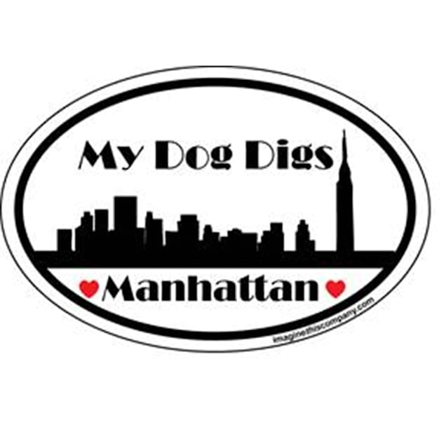 Imagine This My Dog Digs Manhattan Oval Car Magnet - Carousel image #1