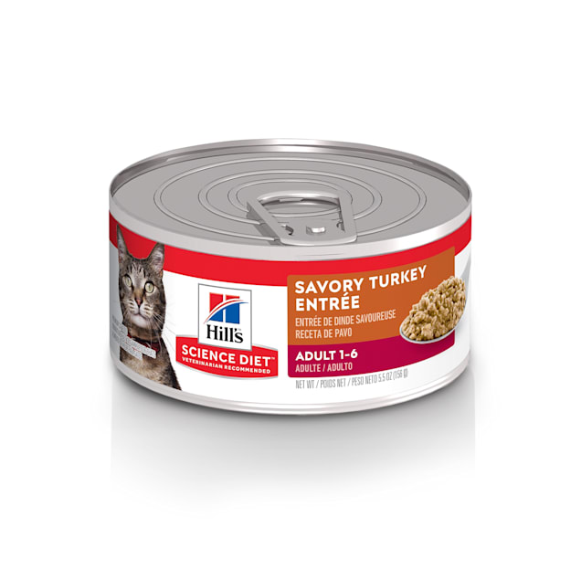 Hill's Science Diet Adult Savory Turkey Entree Canned Cat Food, 5.5 oz., Case of 24 - Carousel image #1