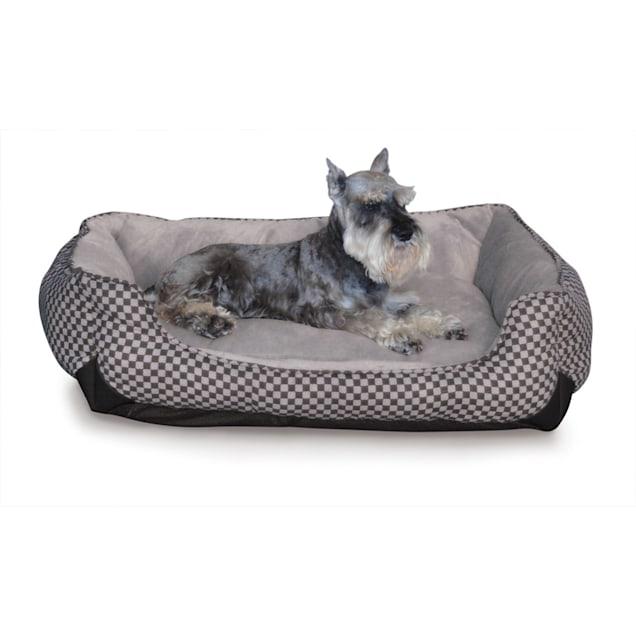 "K&H Self-Warming Lounge Sleeper Dog Bed in Black Squares, 40"" L x 32"" W - Carousel image #1"