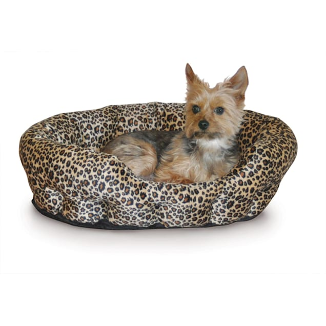 """K&H Self-Warming Nuzzle Nest Dog Bed in Brown Leopard, 19"""" L x 19"""" W - Carousel image #1"""