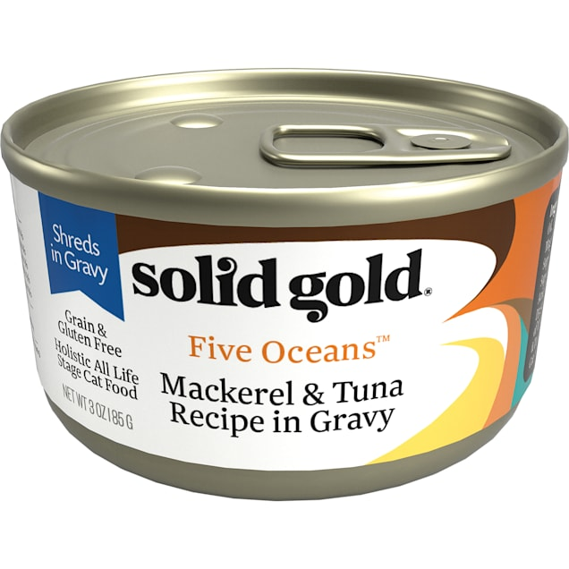 Solid Gold Five Oceans Mackerel & Tuna Grain Free Canned Cat Food, 3 oz., Case of 12 - Carousel image #1