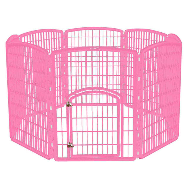 "Iris Pink Eight Panel Pet Containment Pen with Door, 63"" L X 63"" W X 34.3"" H - Carousel image #1"