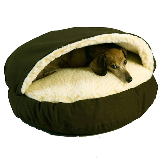 "Snoozer Orthopedic Cozy Cave Pet Bed in Olive & Cream, 25"" L x 25"" W - Carousel image #1"