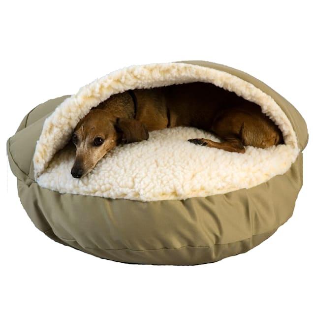 "Snoozer Orthopedic Cozy Cave Pet Bed in Khaki & Cream, 45"" L x 45"" W - Carousel image #1"