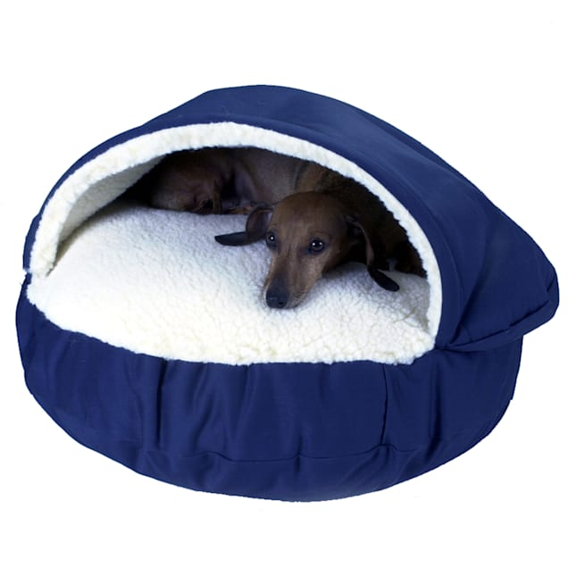 "Snoozer Orthopedic Cozy Cave Pet Bed in Navy & Cream, 45"" L x 45"" W - Carousel image #1"