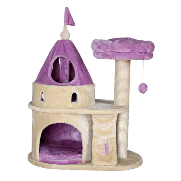 """TRIXIE My Kitty Darling Castle in Purple & Beige, 35.25"""" - Carousel image #1"""