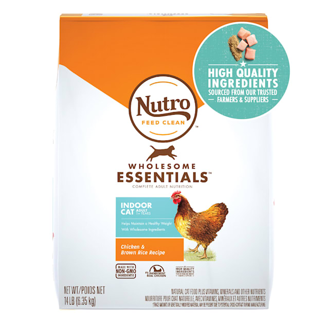 Nutro Wholesome Essentials Adult Indoor for Healthy Weight Farm-Raised Chicken & Brown Rice Recipe Natural Dry Cat Food, 14 lbs. - Carousel image #1