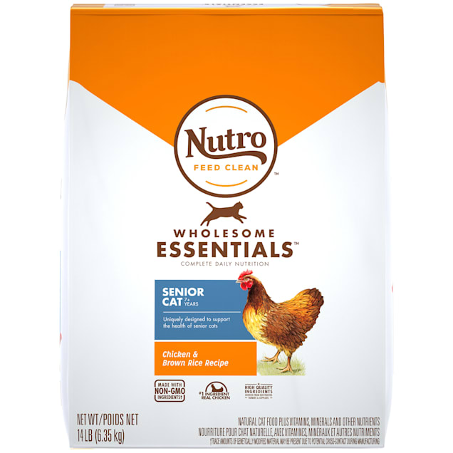 Nutro Wholesome Essentials Senior Indoor for Healthy Weight Farm-Raised Chicken & Brown Rice Recipe Dry Cat Food, 14 lbs. - Carousel image #1