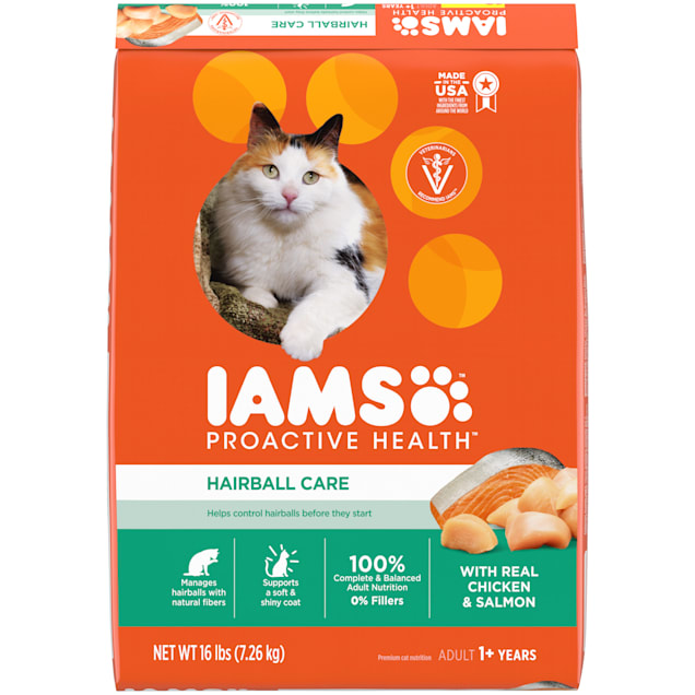 Iams ProActive Health Hairball Care Chicken and Salmon Adult Dry Cat Food, 16 lbs. - Carousel image #1