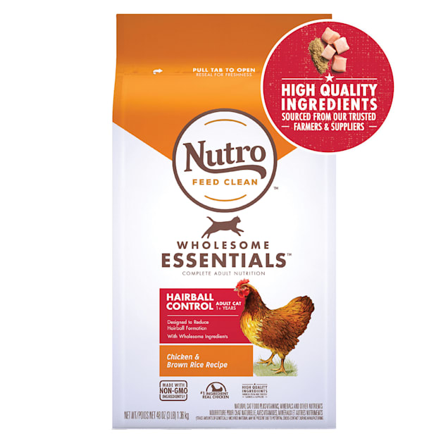 Nutro Wholesome Essentials Adult Hairball Control Farm-Raised Chicken & Brown Rice Recipe Natural Dry Cat Food, 3 lbs. - Carousel image #1