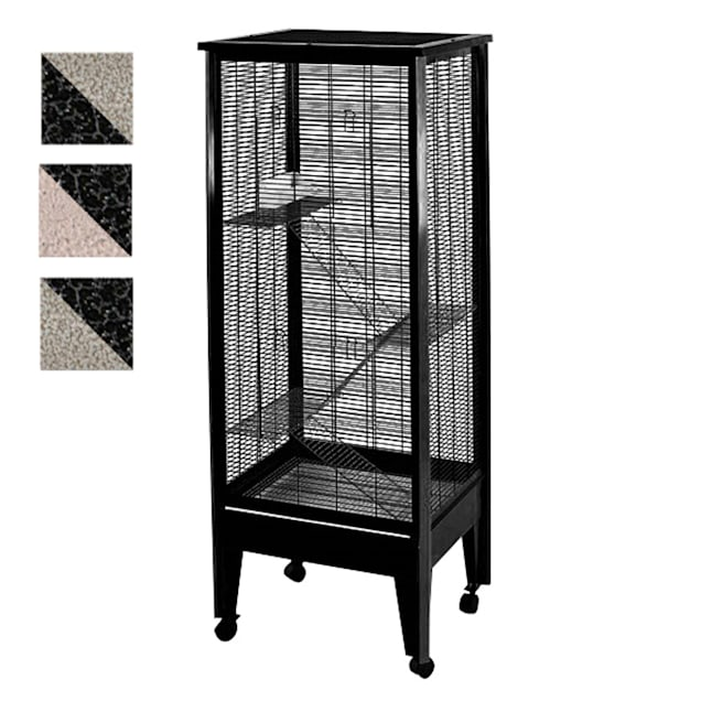 """A&E Cage Company 4 Level Small Animal Cage on Casters in Platinum and Black, 24"""" L X 20"""" W X 60"""" H - Carousel image #1"""