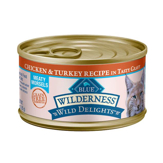 Blue Buffalo Blue Wilderness Wild Delights Meaty Morsels Chicken & Turkey in Gravy Canned Adult Cat Food, 3 oz., Case of 24 - Carousel image #1