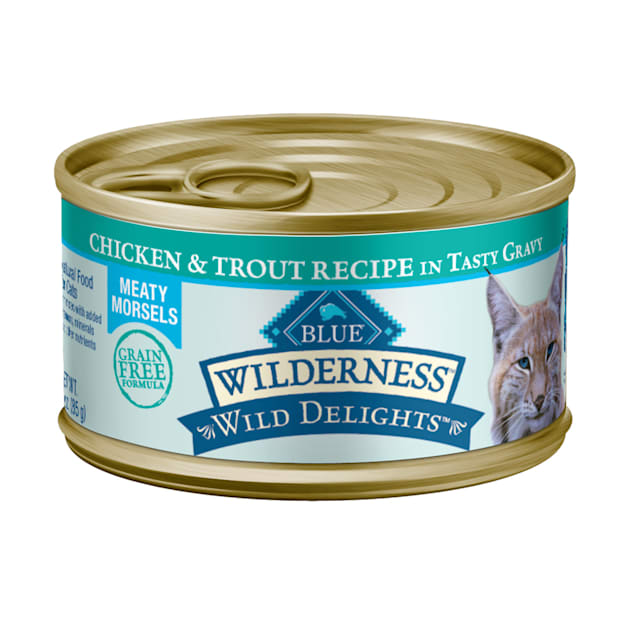 Blue Buffalo Blue Wilderness Wild Delights Chicken & Trout Morsels in Gravy Canned Adult Cat Food, 3 oz., Case of 24 - Carousel image #1