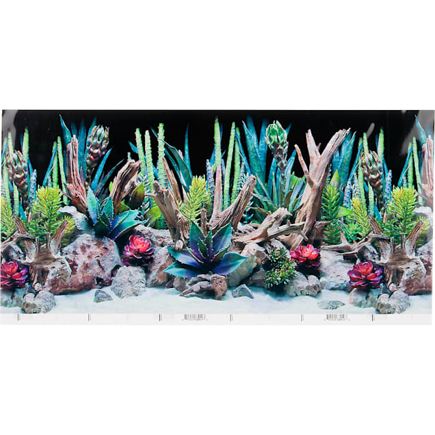 "SeaView Double-Sided Desert Dream & Deep Flora Terrarium Background, 24"" L X 12"" H - Carousel image #1"