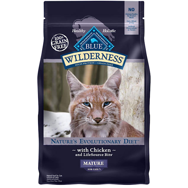 Blue Buffalo Wilderness Natural Mature High Protein Grain Free Chicken Dry Cat Food, 5 lbs. - Carousel image #1