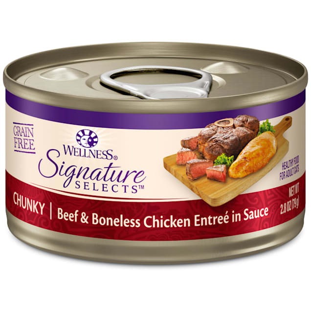 Wellness CORE Signature Selects Natural Grain Free Chunky Beef & Chicken Wet Cat Food, 2.8 oz., Case of 12 - Carousel image #1