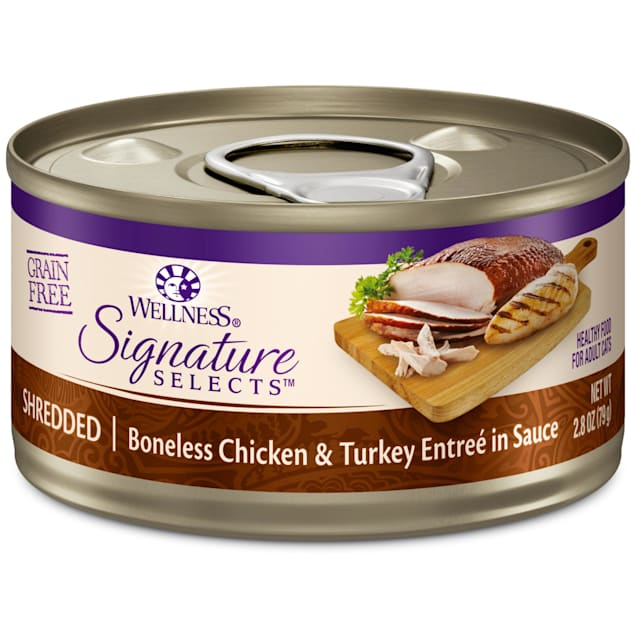 Wellness CORE Signature Selects Natural Grain Free Shredded Chicken & Turkey Wet Cat Food, 2.8 oz. - Carousel image #1