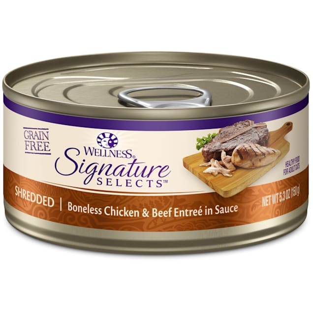 Wellness CORE Signature Selects Natural Grain Free Shredded Chicken & Beef Wet Cat Food, 5.3 oz. - Carousel image #1