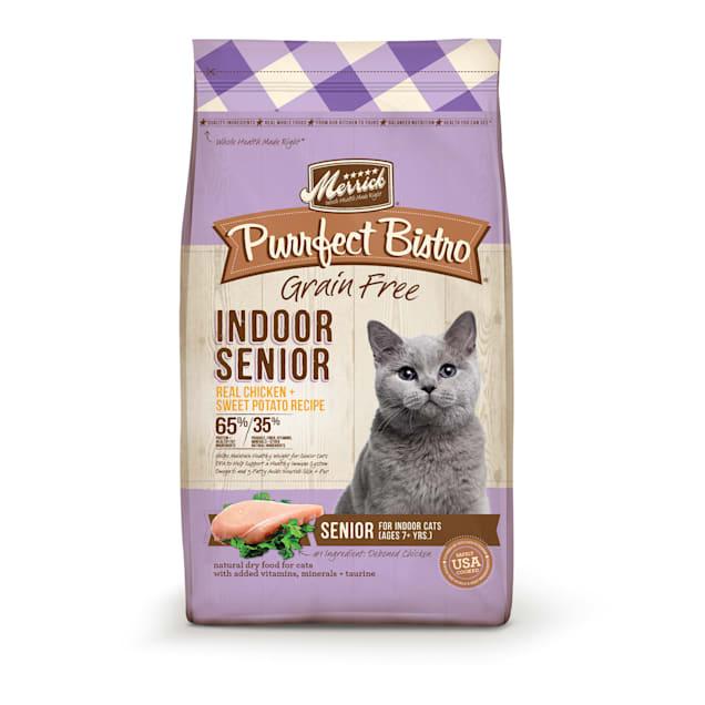 Merrick Purrfect Bistro Grain Free Indoor Senior Real Chicken + Sweet Potato Recipe Cat Dry Food, 4 lbs. - Carousel image #1