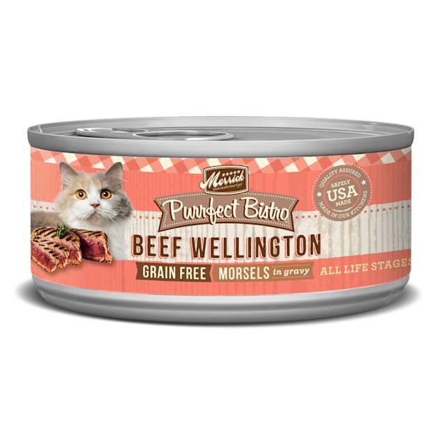 Merrick Purrfect Bistro Grain Free Beef Wellington Wet Cat Food, 5.5 oz., Case of 24 - Carousel image #1