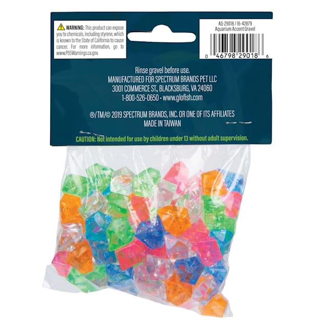 GloFish Aquarium Diamond Accent Gravel Multicolored Gems, 2.8 oz. - Carousel image #1