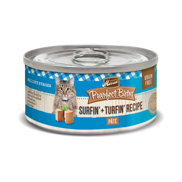 Merrick Purrfect Bistro Grain Free Surf & Turf Pate Wet Cat Food, 5.5 oz., Case of 24 - Carousel image #1