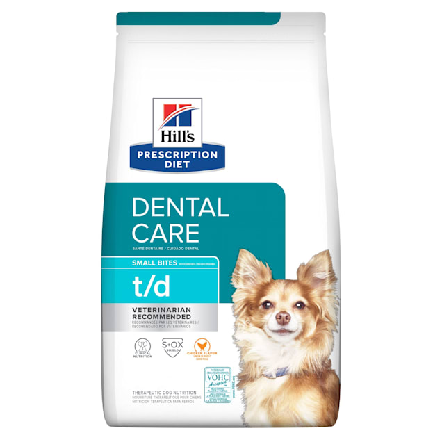 Hill's Prescription Diet t/d Dental Care Small Bites Chicken Flavor Dry Dog Food, 5 lbs., Bag - Carousel image #1