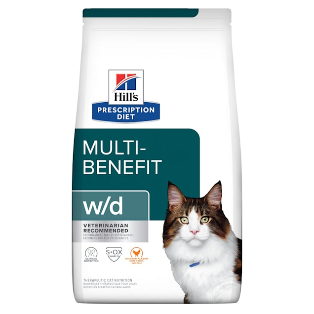Hill's Prescription Diet w/d Digestive/Weight Management with Chicken Dry Cat Food, 17.6 lbs., Bag - Carousel image #1