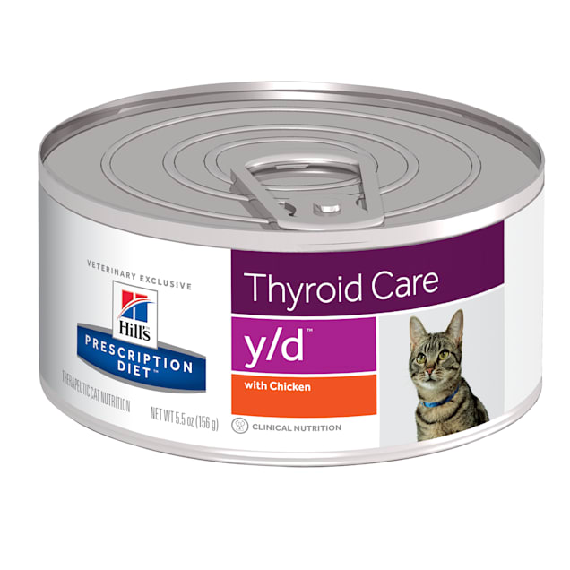 Hill's Prescription Diet y/d Thyroid Care with Chicken Canned Cat Food, 5.5 oz., Case of 24 - Carousel image #1