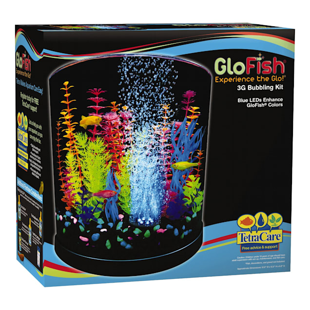 "GloFish Half-Moon Bubbling With Blue LED Bubbler Aquarium Kit 3 Gallons, 12.9"" W x 12.5"" H. - Carousel image #1"