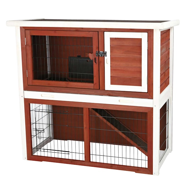 """Trixie Natura Animal Hutch with Enclosure in Brown & White, 40.75"""" L X 20.25"""" W X 38"""" H - Carousel image #1"""